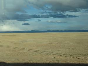 View of the endless plains from the Tibet-Qinghai railway
